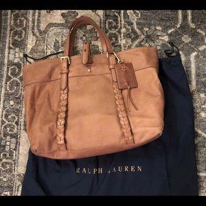 NWT! Ralph Lauren leather satchel handbag walnut